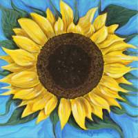 Sunflower No. 1, a Painting by American Nature Painter, Judith A. Maddox Saylor, from the Sunflower Series at JAMS Artworks.