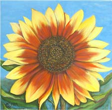 Autumn Sunflower, a painting by American Nature Painter, Judith A. Maddox Saylor, from the Sunflower Series at JAMS Artworks.