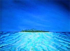 Palomino Island, Puerto Rico, a painting by American Nature Painter, Judith A. Maddox Saylor at JAMS Artworks.